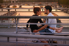 Winter in Two (chiriacradu) Tags: bridge sunset paris france seine river couple dof bateau solferino 18