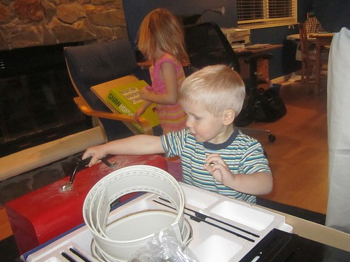 The kids get in on the TV installation action