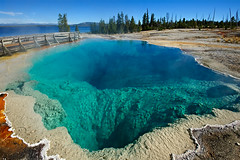Black Pool (bhophotos) Tags: travel usa lake nature water pool landscape geotagged nikon steam yellowstonenationalpark yellowstone wyoming hotspring blackpool runoff westthumbgeyserbasin d700 thermasl 1635mmf4gvrii bruceoakley bhophotos