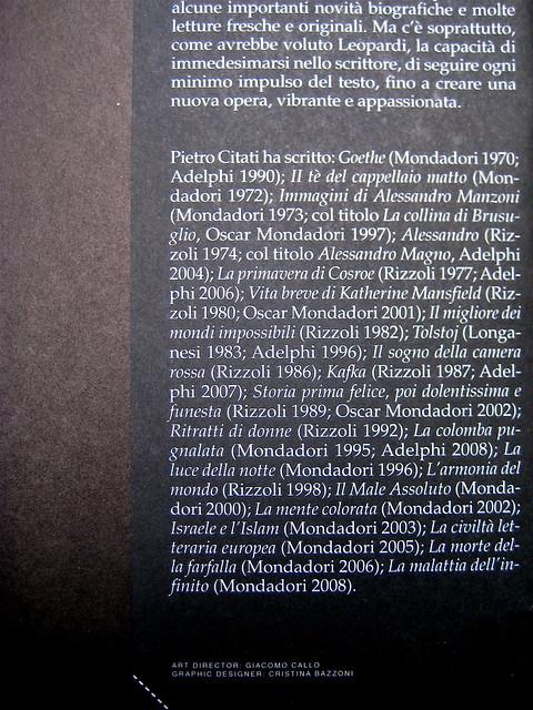 Pietro Citati, Leopardi, Mondadori 2010; art dir.:Giacomo Callo, graph. designer:Cristina Brazzoni; risvolto della q. di cop. (part.), 1