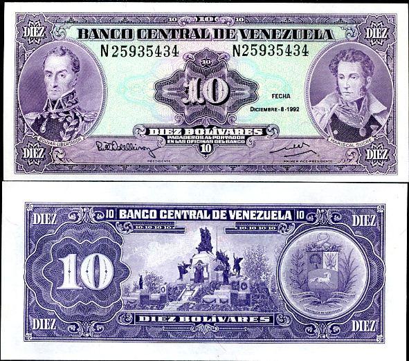 10 Bolivares Venezuela 1992, P61c