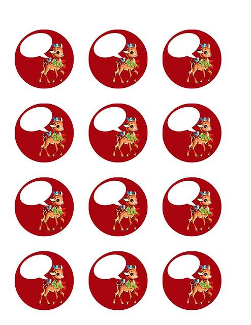 vintage Christmas reindeer - red