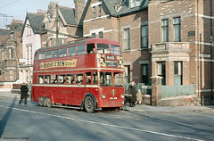 Trolleybus on Craven Park Road, North London, 1958 (Lady Wulfrun) Tags: bus electric march trolley traction streetscene route 1950s 1958 depot service lt oxo 660 finchley trolleybus 291 n15 c3 londontransport stonebridge aec cravenpark cravenparkroad brcw boothsgin cul291 aec664t fortunegateroad