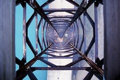This Is What I Had To Climb Up (XTheFisch) Tags: chicago film danger composition 35mm scary perfect fear rusty lifeguard lakemichigan falling tall ladder emergency heights straightdown radiotower lookouttower mgmt dontlookdown filmscansnumber6