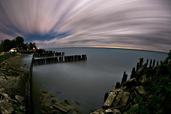 K20D5404 (Bob West) Tags: longexposure nightphotography moon ontario night clouds lakeerie greatlakes fullmoon moonlight nightshots southwestontario bobwest k20d pentax1017fisheye