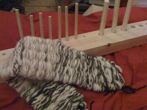 home-made peg loom & scarf
