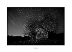 spirals in the sky (Geoff Sills) Tags: wood old trees winter sky white black cold tree broken field night dark stars landscape star wooden long exposure time geoff space william falling trail astronomy shack geoffrey lapse apart sills