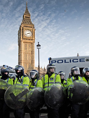 Big Ben Riot Shields (Sven Loach) Tags: uk england london students westminster canon demo riot cops britain budget photojournalism police bigben cameron government van coalition whitehall cuts reject shields 2010 reportage conservatives fees tories g11 liberaldemocrats clegg londonist reject2 accept1 accept2 accept5 accept7 accept4 accept8