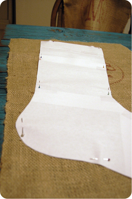 {craft}ernoon: burlap stocking - step 2