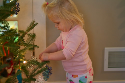 Mimi trims the tree