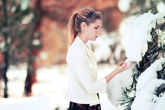 (victoriacarlson) Tags: christmas winter snow girl up december finger explore bow blonde dressed