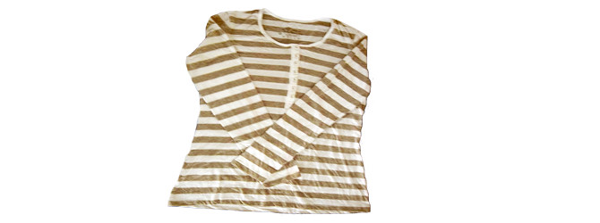 ladies yarn dyed striped long sleeve T shirts