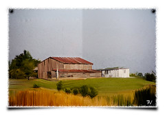 Barn on Canvas (Tyler van der Hoeven) Tags: field barn photoshop painting farm kentucky ky canvas fancy brushes thumbtacks matte trackpad tav lyndacom cs5 mixerbrush