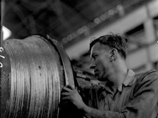 Midvale Company Machinist Allen working in #2 machine shop, July 1931