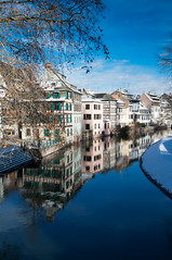 La Petite France (Robby68) Tags: blue winter snow france reflection mirror hiver calm bleu strasbourg alsace neige miroir petitefrance calme colombages paisible yahoo:yourpictures=reflection