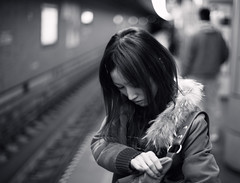 Wrong Platform (torode) Tags: bw girl station train hair subway mono platform tracks jacket mistake explored bentorode benjamintorode