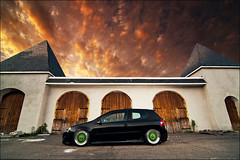 Marcos's GTI Re-edit (Ronaldo.S) Tags: sunset sky orange cloud green vw crazy nikon skies low wheels tokina gti rs bbs f28 slammed mkv airbags d90 1116mm