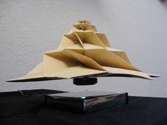 IMG_7748 - Chris Palmer Flower Tower Levitating (tend2it) Tags: geometric toy cool origami geek geometry levitation revolution magnetic chrispalmer levitron flowertower tesellations tesselllation