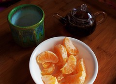 Late Afternoon Tea (A Girl With Tea) Tags: tea teapot oranges teacup