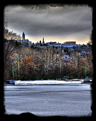 Cornell University (agladshtein) Tags: city winter sky cloud newyork water frozen cityscape cny snowing centralnewyork ithaca cayugalake hdr scenics cornelluniversity tompkinscounty beautyinnature nikkor18200mmvr coldtemperature nikond300
