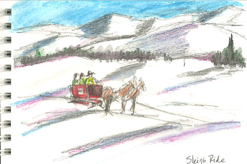Sleigh ride on the golf course, Lake Placid, NY