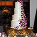 White Buttercream with Purple Orchids and Swiss Dots