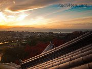 Golden sunset along the coast of Lake Biwa