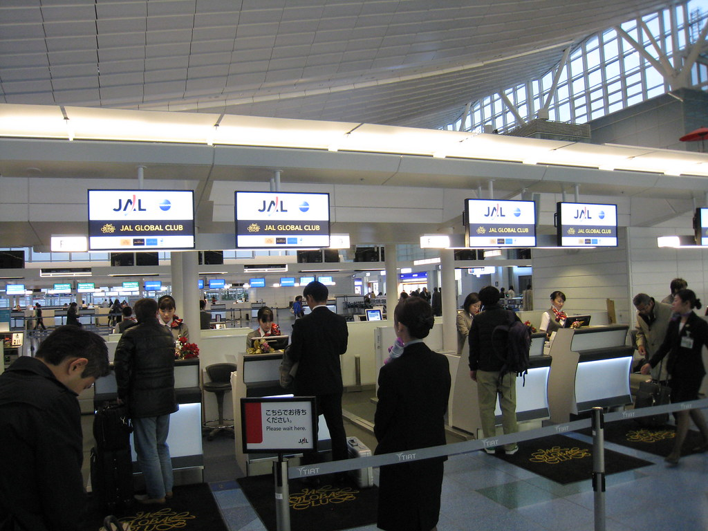 Japan Airlines (JAL) JGC check-in counters at Haneda (HND) International Terminal