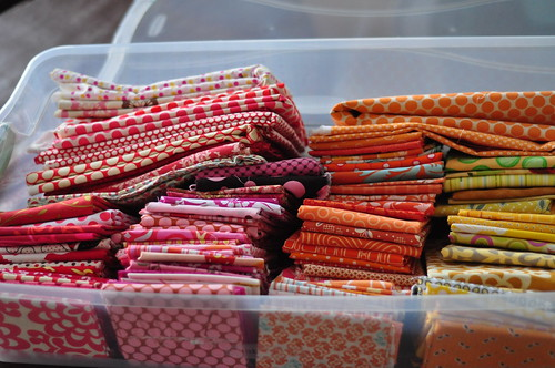 My Fabric Stash: red, orange, yellow