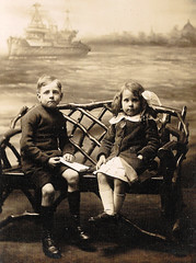 Brother and Sister on Rustic Bench (timandpep) Tags: rustic bench backdrop ship siblings brother sister 1911 chatham beverlyhills california gertrudemichael ritamoss murderatthevanities marijuana 32rb88 copied