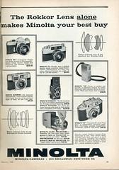 Minolta Cameras 1960 (Nesster) Tags: camera vintage magazine print photography miniature photo minolta ad advertisement cameras advert 16 a2 sixties v2 1960 slideprojector autocord sr2 rokkor popularphotography autowide lensdiagram