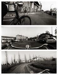 Tre pano (Piedone_N47) Tags: urban italy bike italia cityscape horizon panoramic bn panoramica bici hp5 bianconero ravenna emiliaromagna romagna pellicola bagnacavallo bncitt bnscorci ciclography