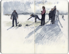 Curling on the lake of Menteith (Wil Freeborn) Tags: lake moleskine sketch journal watercolour menteith curling
