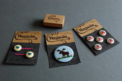 Magasin packaging (Mr Ryan Bennett) Tags: logo typography graphicdesign crossstitch magasin earring artnouveau badge button packaging bodoni bobbypin