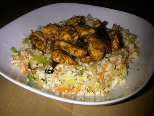 Lemon cauliflower rice and curry chicken