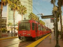 The Red Trolley (Kurlylox1) Tags: california red urban train mexico sandiego trolley transportation transit sanysidro lightrail