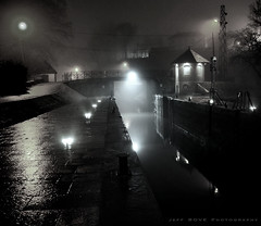 "A tribute to the french ""film noir"" (Jeff BOVE) Tags: winter light bw black film water night canal noir noiretblanc lock lumire picture nuit ambiance cluse nikond300s"