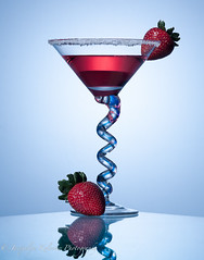 (Jacquelyn Kolosow) Tags: blue red reflection green glass studio design strawberries commercial liquid glassware