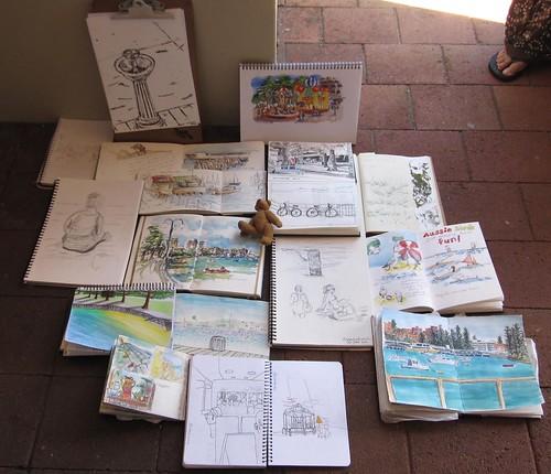 Sydeny Sketchcrawl 30 Sketchbooks Photo