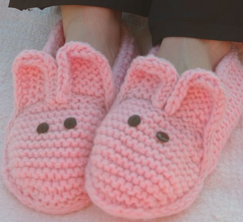 Pink bunny with button eyes slippers adult size on Natalie  finished on 011711