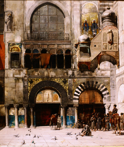 Circassian Cavalry Awaiting their Commanding Officer at the Door of a Byzantine Monument; Memory of the Orient, 1880, Alberto Pasini