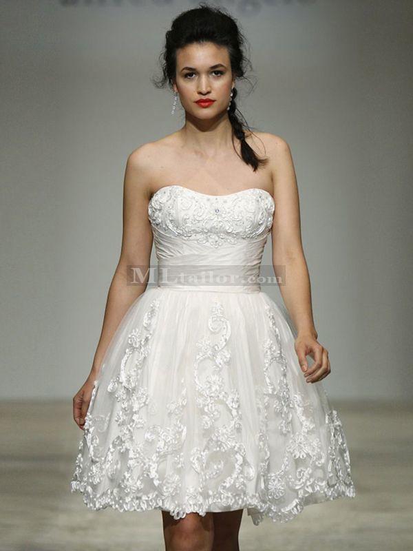 Satin Ribbon Design Little White Dress (MLAA0005)