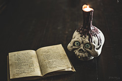 Reading by Candle Light (3rd-Rate Photography) Tags: garbagepailkids glowingamber brightdwight candle prop trickortreatstudios book edgarallanpoe theraven skull canon 50mm 5dmarkiii jacksonville florida 3rdratephotography earlware gpk