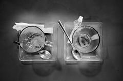 "All gone ! (CJS*64 ""Man with a camera"") Tags: ciutadella menorca coffee capuccino blackwhite bw blackandwhite whiteblack whiteandblack drink cups two 2 glass cjs64 craigsunter cjs monochrome mono"