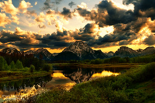 The Northern Tetons at Sunset from Oxbow Bend Turnout at Grand Teton National Park