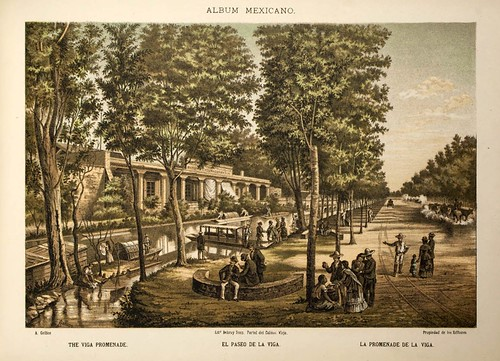 006-El paseo de la Viga- Album Mexicano  Coleccion de Paisajes Monumentos Costumbres..1875-1855