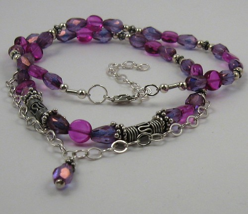 Pink and purple Czech bead and Bali silver choker