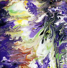 Purple & Green Fluid Painting (markchadwickart) Tags: brown white abstract black color colour green art nature yellow painting square flow movement colorful paint artist colours purple natural random mark move randomness fluid gravity burnt flowing colourful process liquid senna forces chadwick ladnscape