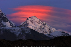 Trivor Sar 7728m (M Atif Saeed) Tags: pakistan sunset red cloud mountain mountains nature clouds landscape formation karakoram areas northern northernareas hispar muztagh 7728 atifsaeed trivor gettyimagespakistanq1