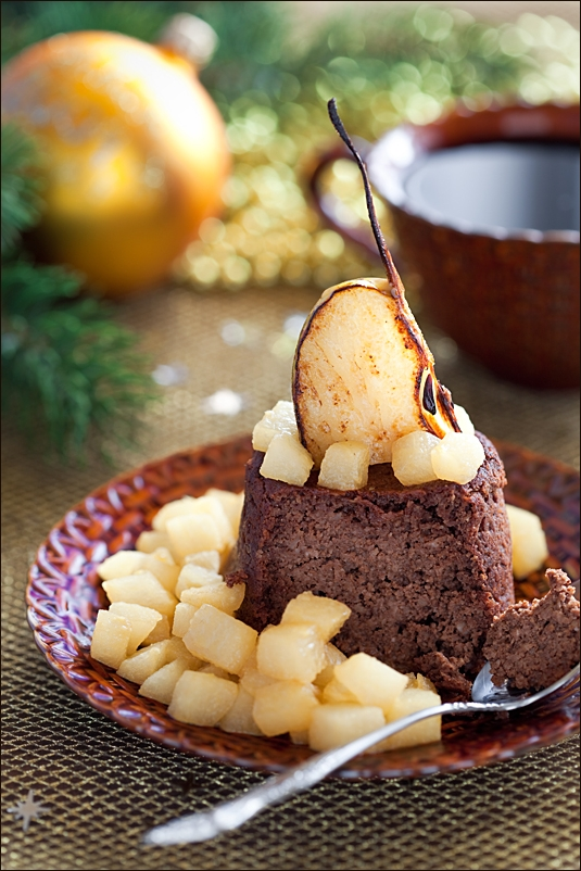 Buckwheat cake with chocolate and pears